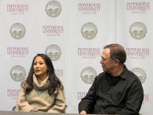 Lyly Koenig Mendez and Ross Meador respond to questions from the audience. Mendez was evacuated during Operation Babylift and Meador was an orphanage volunteer during the Babylift. Both are featured in the film.